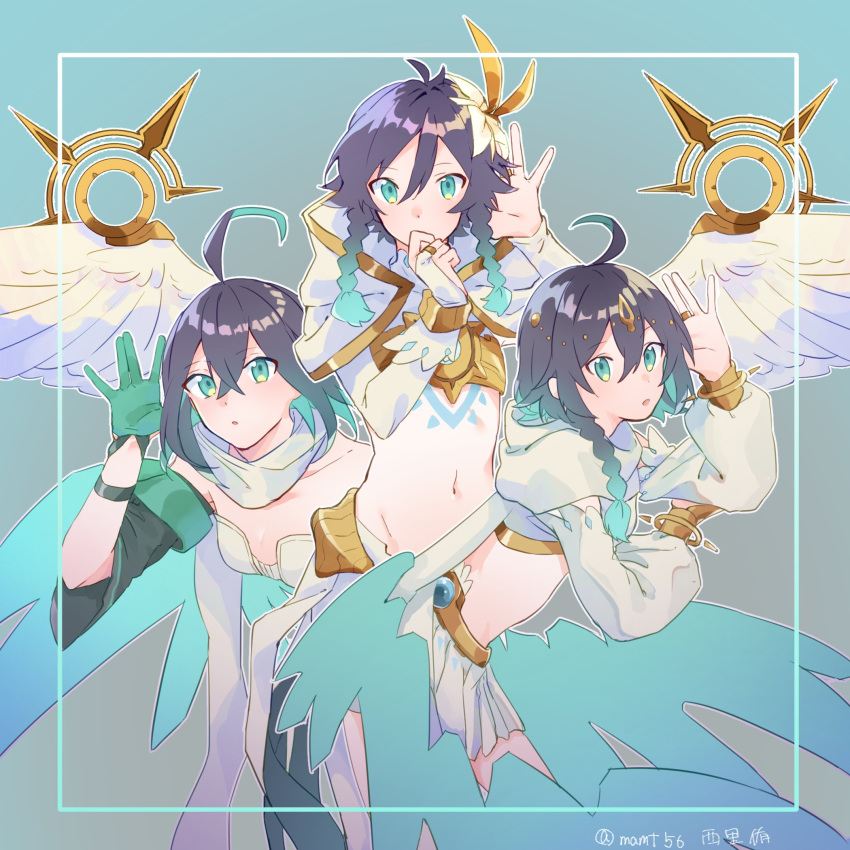 1boy 2girls ahoge bangle bangs bare_shoulders black_hair blue_background bracelet braid breasts cape character_request detached_sleeves eyebrows_visible_through_hair feathered_wings feathers flower genshin_impact gloves gradient_hair green_eyes green_hair hair_between_eyes hair_flower hair_ornament hand_to_own_mouth highres hood hood_down jewelry long_hair long_sleeves looking_at_viewer mamt56 midriff multicolored_hair multiple_girls navel open_mouth otoko_no_ko ring scarf short_hair simple_background skirt tattoo twin_braids two-tone_hair venti_(genshin_impact) wendy_(honkai_impact) white_flower wings