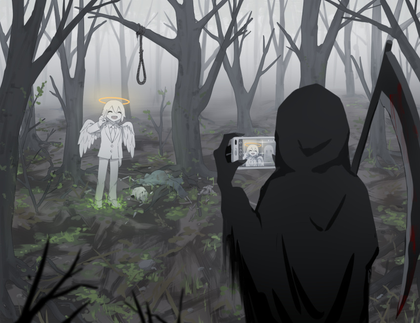 1boy 1other :d angel_wings avogado6 bare_tree black_skin blood bloody_weapon collared_shirt colored_skin commentary_request corpse death death_(entity) feathered_wings forest glowing halo hand_up hood hood_up hooded_robe jacket long_sleeves nature necktie noose open_mouth original pants scythe shirt shoes smile tree v weapon white_jacket white_neckwear white_pants white_shirt white_skin white_wings wing_collar wings