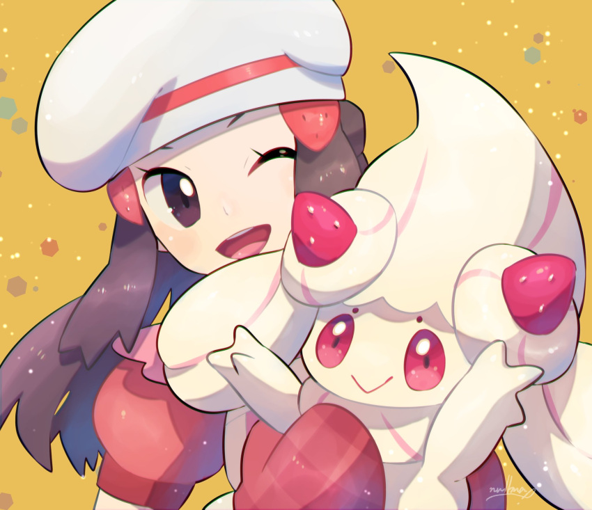 1girl :> alcremie alcremie_(strawberry_sweet) brown_eyes brown_hair commentary_request dawn_(pokemon) dress eyelashes gen_8_pokemon hair_ornament hairclip hat head_tilt highres holding holding_pokemon mittens nullma one_eye_closed open_mouth pokemon pokemon_(creature) pokemon_(game) pokemon_masters_ex red_dress red_mittens short_sleeves signature smile teeth tongue white_headwear