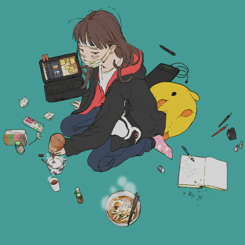 1girl absurdres animal_pillow aqua_background black_jacket blue_pants blush book bowl brown_eyes brown_hair chopsticks coffee_mug commentary_request computer cooling_pad crumpled_paper cup discord drawing_tablet egg eraser food full_body highres honey huge_filesize inkwell jacket laptop long_hair mask mouth_mask mug no_pupils noodles open_book original pants pen pencil pink_legwear pouring ramen shiki_haru shirt simple_background sitting socks solo spoon steam stylus surgical_mask teacup track_pants wariza white_shirt