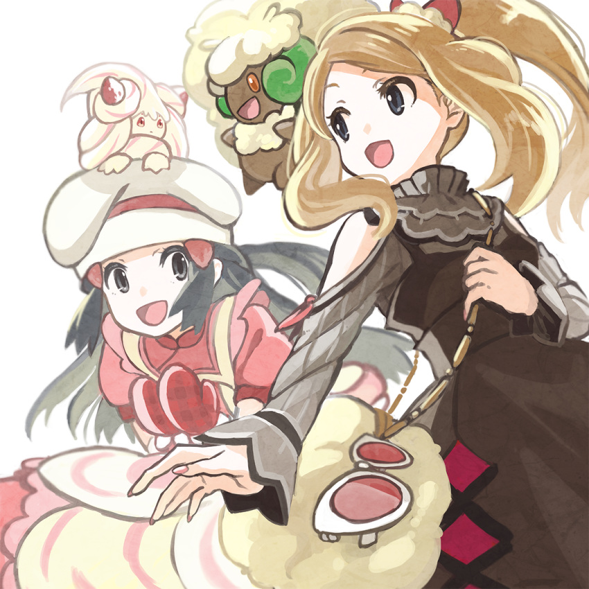 2girls alcremie alcremie_(strawberry_sweet) apron bag black_hair blurry brown_dress brown_hair commentary_request dawn_(pokemon) dress eye_contact eyelashes eyewear_removed floating_hair from_below gen_5_pokemon gen_8_pokemon grey_eyes hair_ornament hairclip hat holding_strap long_hair long_sleeves looking_at_another multiple_girls nail_polish nikuzaiku on_head open_mouth pink_dress pink_nails pokemon pokemon_(creature) pokemon_(game) pokemon_masters_ex pokemon_on_head serena_(pokemon) short_sleeves shoulder_bag sidelocks smile sunglasses tied_hair tongue whimsicott white-framed_eyewear