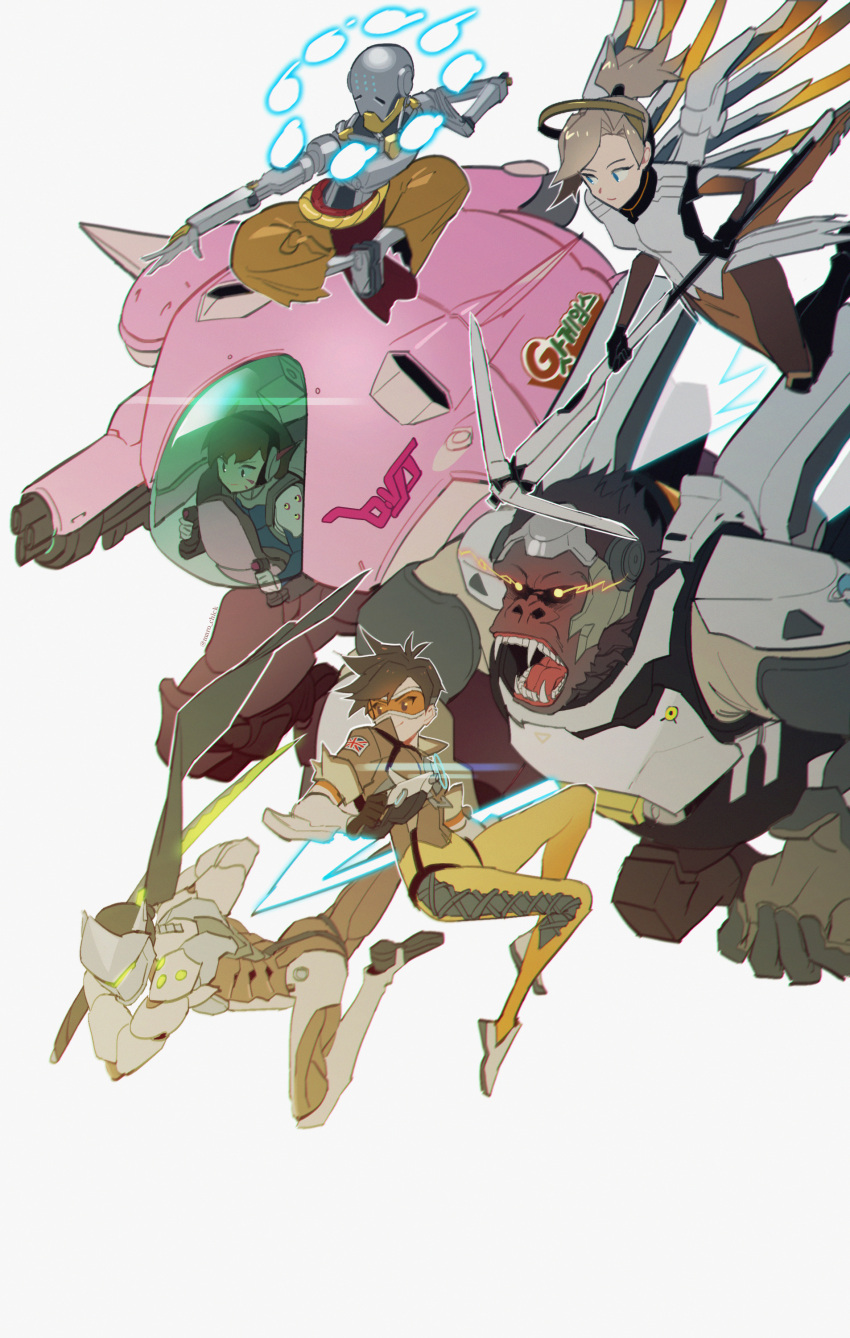 3boys 3girls absurdres armor attack bangs black_gloves black_hair blonde_hair blue_eyes bodysuit bomber_jacket breasts brown_eyes brown_hair brown_jacket brown_pants character_name chest_harness closed_mouth cyborg d.va_(overwatch) english_commentary facepaint facial_mark floating from_side genji_(overwatch) gloves goggles gorilla gun handgun harness headphones helmet high_ponytail highres holding holding_gun holding_staff holding_sword holding_weapon humanoid_robot indian_style jacket katana korean_text lips long_hair looking_away maro_(lij512) mask mecha mechanical_halo mechanical_wings meka_(overwatch) mercy_(overwatch) monk multiple_boys multiple_girls omnic open_mouth orb overwatch pants ponytail power_armor rage_face robot short_hair simple_background sitting smile spiky_hair staff swept_bangs sword tracer_(overwatch) union_jack weapon whisker_markings white_background white_footwear white_gloves wings winston_(overwatch) yellow_bodysuit zenyatta_(overwatch)