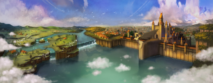 bird blue_sky breasts bridge castle city clouds day english_commentary feathered_wings fence field forest highres horizon house large_breasts mountain myungseop_lee nature no_humans outdoors path ragnarok_online river scenery sky statue tower tree water waterfall wings