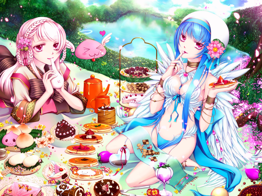 2girls :3 angel_wings angeling bangle bangs baozi barefoot bell berry bikini bikini_bottom blue_bikini blue_bow blue_hair bow bra bracelet braid brown_dress cake candy candy_cane checkerboard_cookie cherry chocolate chocolate_cake commentary_request cookie cup dress drinking drinking_straw eating eyebrows_visible_through_hair feathers finger_licking flower food footwear_removed fruit full_body gingerbread_man grass hair_bell hair_ornament halo heart-shaped_cake heart-shaped_food high_heels hmf_(hydrangea) holding holding_food honey jewelry jingle_bell licking long_hair long_sleeves looking_at_viewer lying mug multiple_girls on_stomach open_mouth orange pancake parted_lips peach picnic pink_eyes pink_flower pink_hair pink_ribbon pond poring ragnarok_online ribbon sandals shirt sitting slime_(creature) soul_linker_(ragnarok_online) spore_(ragnarok_online) strawberry swimsuit syrup teapot tray underwear very_long_hair wanderer_(ragnarok_online) wariza white_bra white_headwear white_shirt white_wings wings yellow_flower yule_log