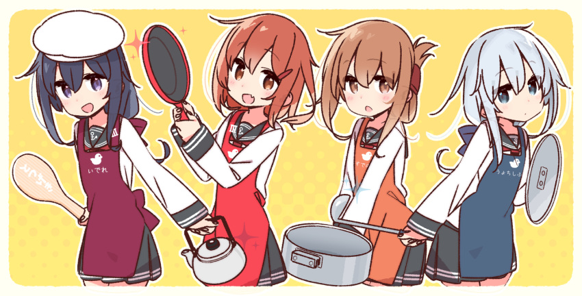 4girls akatsuki_(kantai_collection) anchor_symbol apron bird black_hair black_sailor_collar black_skirt blue_eyes blue_hair blush border brown_eyes brown_hair chef_hat commentary_request cowboy_shot cropped_legs duck fang folded_ponytail frying_pan hair_flaps hair_ornament hairclip hat hibiki_(kantai_collection) ikazuchi_(kantai_collection) inazuma_(kantai_collection) kantai_collection kettle ladle lid long_hair looking_at_viewer multicolored multicolored_background multiple_girls nanodesu_(phrase) neckerchief pleated_skirt pot purple_apron red_apron red_neckwear sailor_collar school_uniform serafuku short_hair skin_fang skirt snow spatula thighs toque_blanche violet_eyes white_border white_headwear yoru_nai