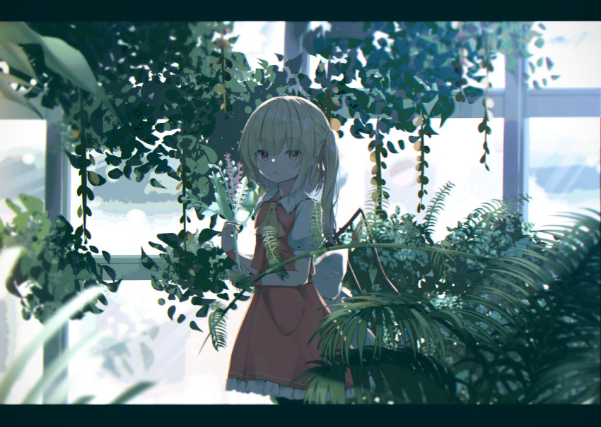 1girl blonde_hair blurry_foreground commentary cravat day expressionless eyebrows_visible_through_hair fern flandre_scarlet flower greenhouse hair_between_eyes highres holding holding_flower indoors iyo_(ya_na_kanji) lavender_(flower) letterboxed looking_at_viewer no_hat no_headwear one_side_up parted_lips petticoat plant potted_plant puffy_short_sleeves puffy_sleeves red_eyes red_skirt red_vest shirt short_hair short_sleeves skirt solo standing symbol_commentary touhou vest white_shirt wide_shot window yellow_neckwear
