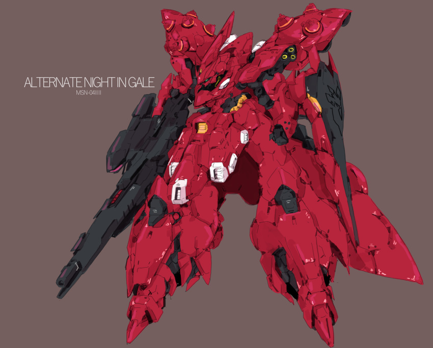 beru char's_counterattack char's_counterattack_-_beltorchika's_children character_name clenched_hand green_eyes gun gundam highres holding holding_gun holding_weapon mecha nightingale no_humans one-eyed redesign science_fiction shield solo weapon zeon
