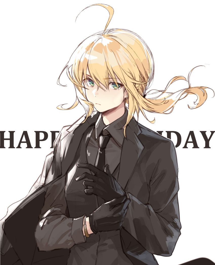 1girl absurdres adjusting_clothes adjusting_gloves ahoge aqua_eyes artoria_pendragon_(all) black_gloves clouble fate/zero fate_(series) formal gloves happy_birthday highres long_hair looking_at_viewer necktie saber solo suit type-moon white_background wind