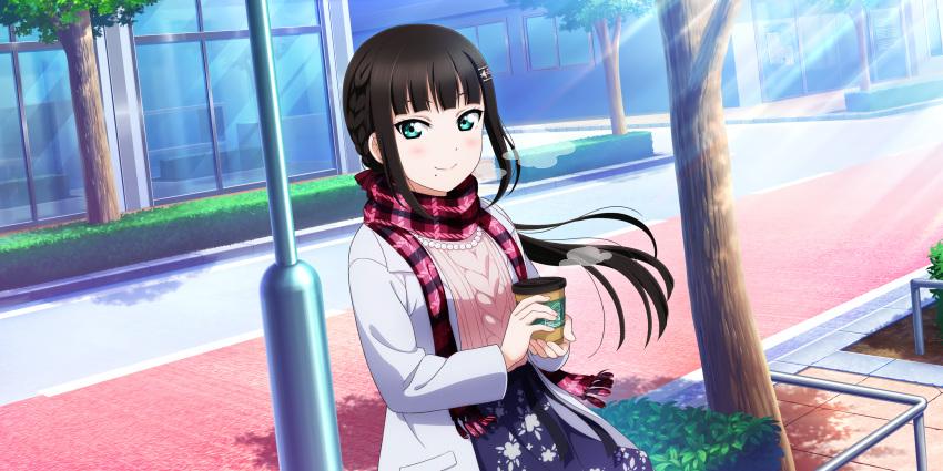 black_hair blush green_eyes jacket kurosawa_dia long_hair love_live!_sunshine!! smile