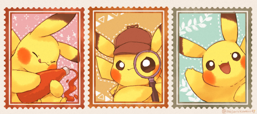:d bottle brown_eyes brown_headwear closed_eyes closed_mouth commentary_request gen_1_pokemon hat hatted_pokemon holding holding_bottle ketchup looking_at_viewer magnifying_glass misonikomiii no_humans open_mouth outline pikachu pokemon pokemon_(creature) smile stamp tongue tongue_out
