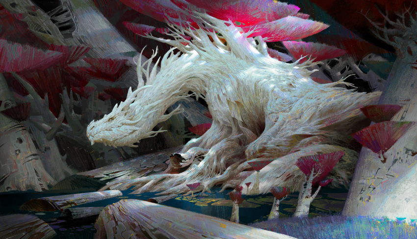 absurdres colored_skin corpse dragon dragon_horns fantasy forest highres horns monster nature no_humans original overgrown plant roots scales scenery solo tree white_skin ya_lun