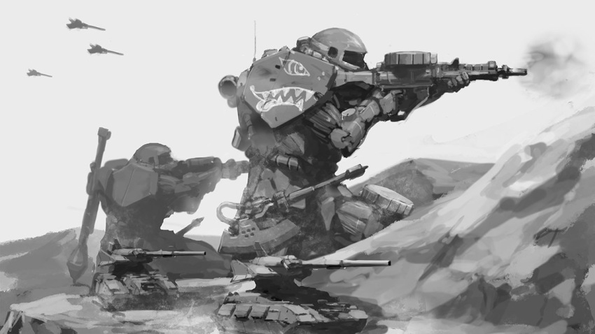aircraft airplane fighter_jet from_side greyscale ground_vehicle gun gundam holding holding_gun holding_weapon holstered_weapon inawata jet mecha military military_vehicle mobile_suit_gundam monochrome motor_vehicle no_humans science_fiction tank tank_turret weapon zaku zeon
