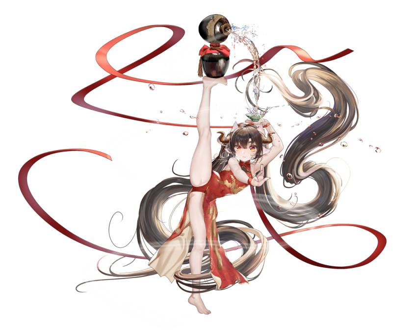 1girl absurdly_long_hair alcohol animal_ears arm_up armpits ass bare_arms bare_legs bare_shoulders barefoot black_hair china_dress chinese_clothes choko_(cup) cup curled_horns dress floating_hair full_body horns long_hair looking_at_viewer moyamoya_(moya11158375) original panties pelvic_curtain pot pouring red_dress red_panties red_ribbon ribbon sake side_slit simple_background sleeveless sleeveless_dress sleeveless_turtleneck solo split standing standing_on_one_leg thighs turtleneck underwear very_long_hair white_background yellow_eyes