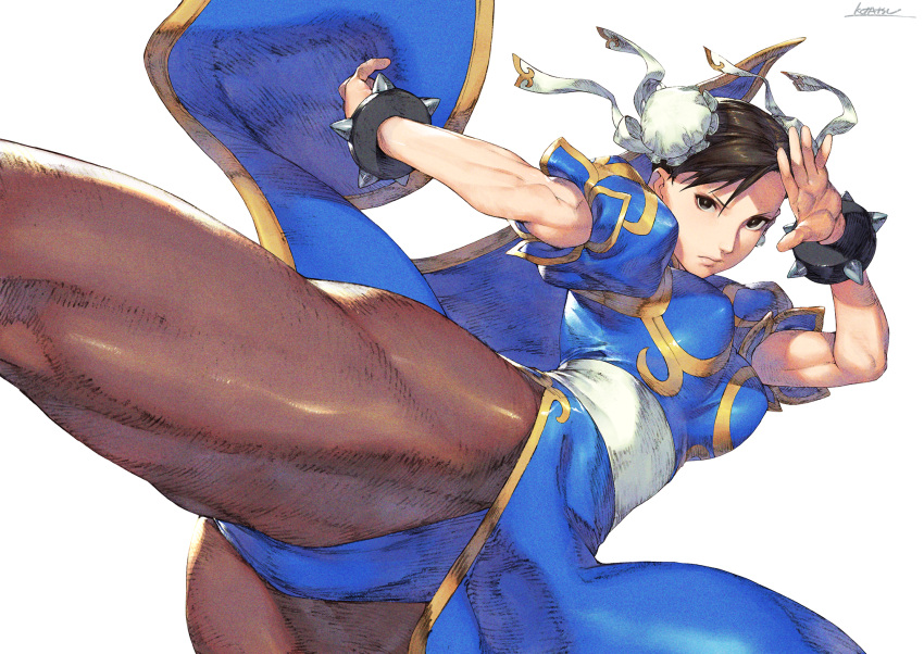 1girl black_eyes blue_dress bracelet breasts bright_pupils brown_hair brown_legwear bun_cover chun-li closed_mouth double_bun dress faux_traditional_media fighting_stance fine_fabric_emphasis hands_up highres incoming_attack jewelry kotatsu_(g-rough) large_breasts looking_at_viewer pantyhose pelvic_curtain sash short_hair signature simple_background solo spiked_bracelet spikes standing standing_on_one_leg street_fighter white_background white_pupils white_sash