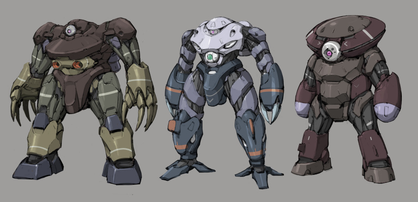 absurdres acguy claws gogg grey_background gundam highres inawata mecha mobile_suit mobile_suit_gundam no_humans one-eyed red_eyes redesign science_fiction standing z'gok zeon