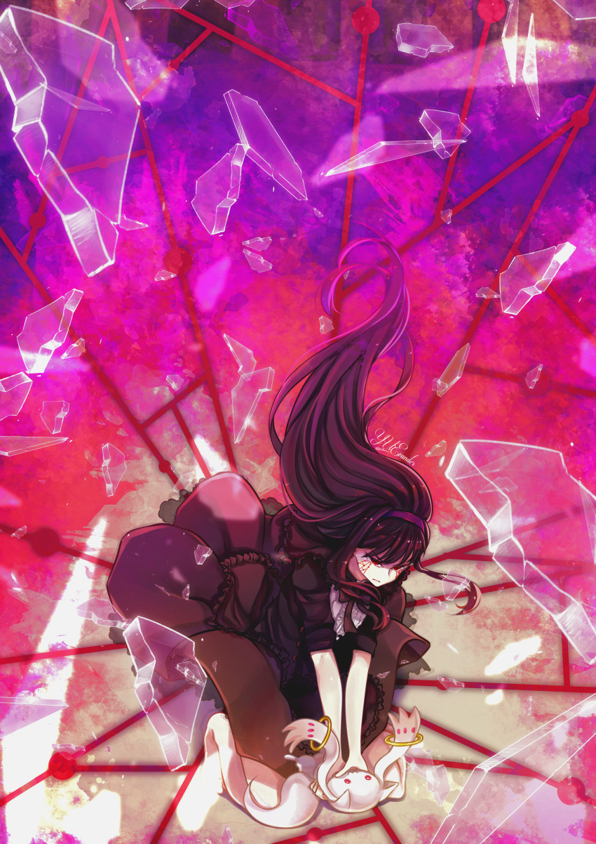 1girl abstract absurdres akemi_homura black_dress black_hair commentary dress english_commentary funeral_dress glaring hairband highres homulilly huge_filesize kneeling kyubey long_hair mahou_shoujo_madoka_magica mahou_shoujo_madoka_magica_movie multicolored multicolored_background red_eyes shards short_hair signature spoilers strangling tears watermark yuevander