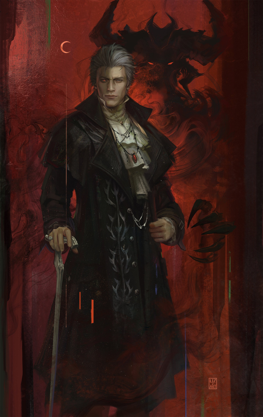 1boy absurdres alternate_costume black_coat cane claws closed_mouth coat crescent_moon demon devil_may_cry devil_may_cry_5 fingernails frills grey_eyes grey_hair hair_slicked_back hetero highres holding holding_cane jewelry lizzart-zardonicz male_focus moon necklace painting_(object) pinky_ring red_eyes ring shadow signature solo standing turtleneck vergil