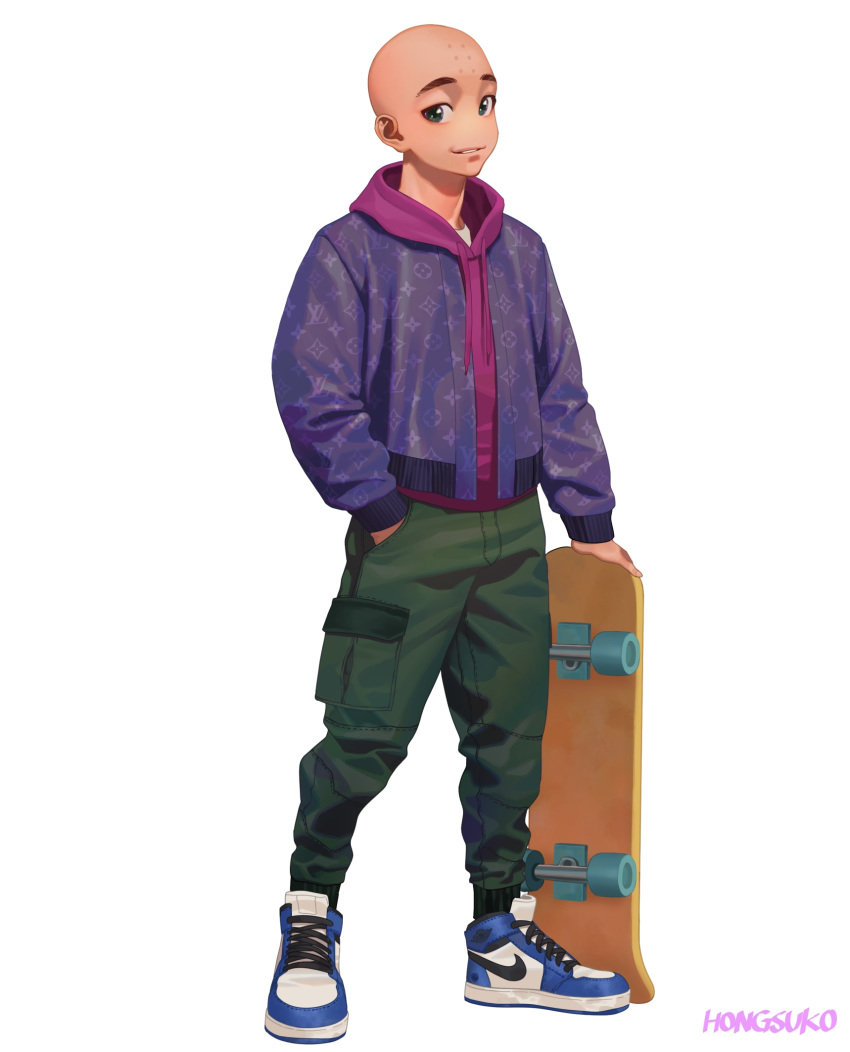 1boy alternate_costume bald commentary dragon_ball green_eyes hand_in_pocket highres holding holding_skateboard hongcasso hood hood_down hoodie kuririn male_focus nike parted_lips patterned patterned_clothing shoes signature simple_background skateboard smile sneakers solo standing white_background