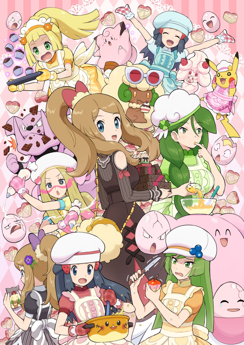 6+girls absurdres ace_trainer_(pokemon) alcremie alcremie_(strawberry_sweet) alternate_costume apron arms_up baking_sheet black_dress blissey blonde_hair blue_eyes bow braid braided_ponytail bright_pupils cheryl_(pokemon) chocolate clefairy closed_eyes clothed_pokemon commentary_request dawn_(pokemon) dedenne dress eating exeggcute eyebrows_visible_through_hair eyelashes facepaint finger_licking floating_hair gen_1_pokemon gen_2_pokemon gen_5_pokemon gen_6_pokemon gen_8_pokemon granbull green_eyes green_hair hair_bow hat heart highres holding holding_knife icing knife licking lillie_(pokemon) long_hair looking_back mina_(pokemon) mixing_bowl multiple_girls open_mouth oven_mitts pikachu pokemoa pokemon pokemon_(creature) pokemon_(game) pokemon_masters_ex ponytail serena_(pokemon) short_sleeves smile stirring sunglasses tongue whimsicott white_headwear yellow_dress |d