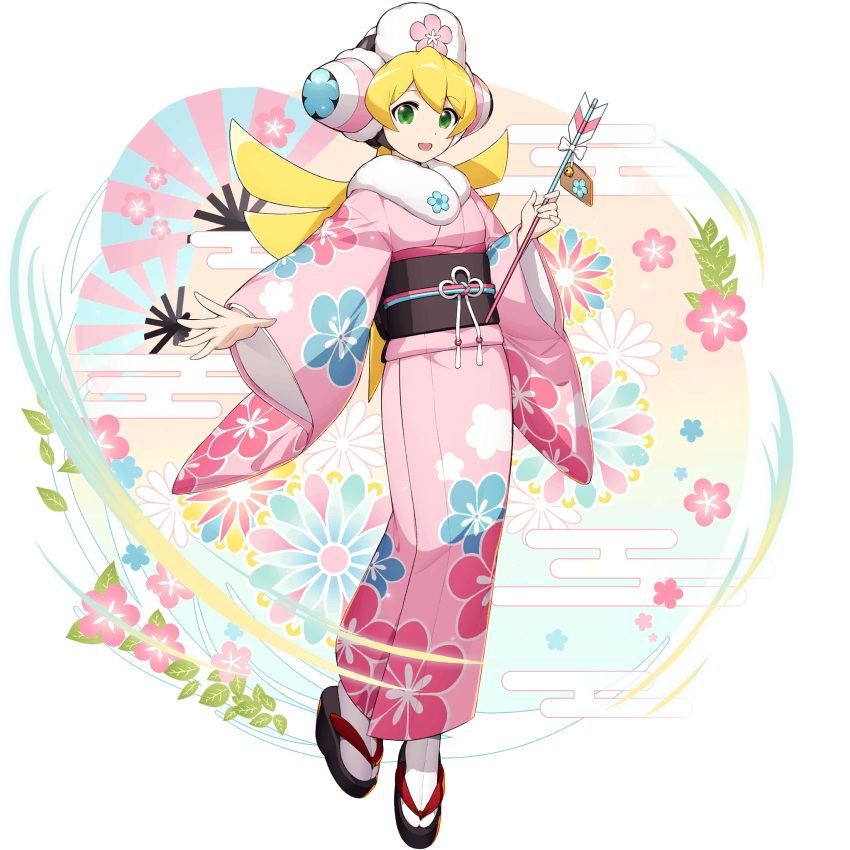 1girl :d android blonde_hair cinnamon eyebrows_visible_through_hair festival floral_print flower full_body green_eyes hair_ornament happy hat headgear helmet highres holding japanese_clothes kimono long_hair long_sleeves looking_at_viewer mizuno_keisuke new_year obi official_art open_mouth robot robot_ears rockman rockman_x rockman_x_dive sandals sash smile solo third-party_source transparent_background wide_sleeves yukata