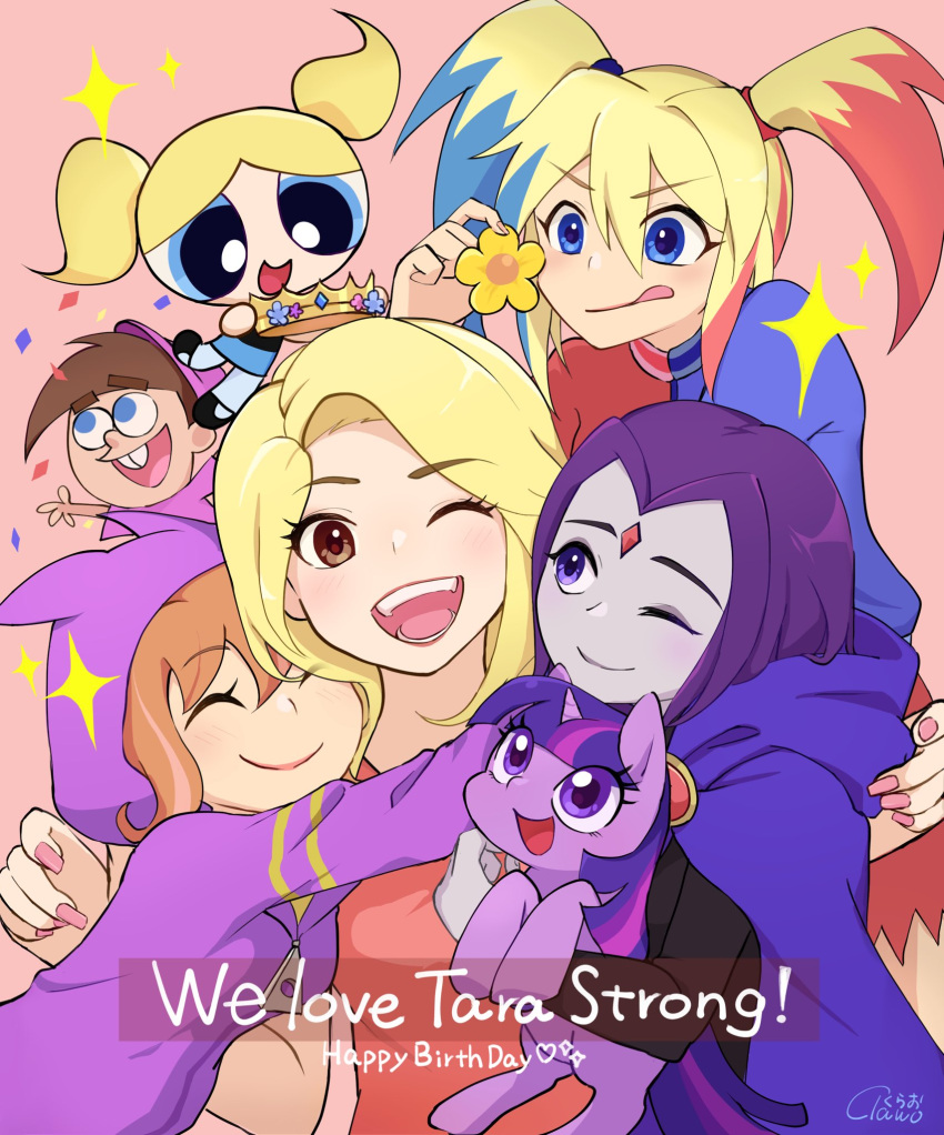 1boy 6+girls barbara_gordon blonde_hair bubbles_(ppg) crossover crown dc_comics dc_super_hero_girls flower forehead_jewel group_hug happy_birthday harley_quinn highres hood hoodie horns hug looking_at_viewer multicolored_hair multiple_girls my_little_pony my_little_pony_friendship_is_magic open_mouth orange_hair powerpuff_girls purple_hair raven_(dc) seiyuu_connection single_horn smile tara_strong teen_titans the_fairly_oddparents timmy_turner tongue tongue_out twilight_sparkle twintails two-tone_hair unicorn urucra