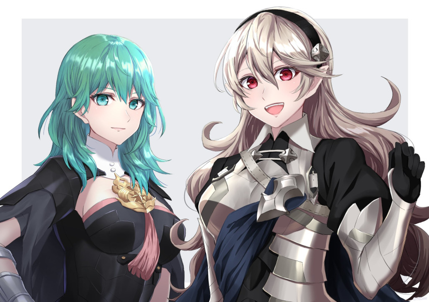 2girls :d between_breasts black_cape black_gloves black_hairband border breasts byleth_(fire_emblem) byleth_(fire_emblem)_(female) cape closed_mouth corrin_(fire_emblem) corrin_(fire_emblem)_(female) fire_emblem fire_emblem:_three_houses fire_emblem_fates floating_hair gloves green_eyes green_hair grey_background hairband highres long_hair looking_at_viewer medium_breasts multiple_girls open_mouth outside_border pointy_ears red_eyes shinae shiny shiny_hair sideboob silver_hair smile upper_body very_long_hair white_border
