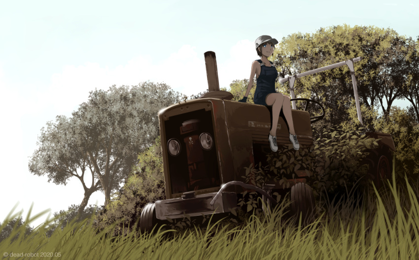 1girl artist_name baseball_cap dead-robot grass hat knees_together_feet_apart looking_at_viewer naked_overalls original outdoors overall_shorts overalls overgrown rural scenery short_hair sitting sky smile tractor tree