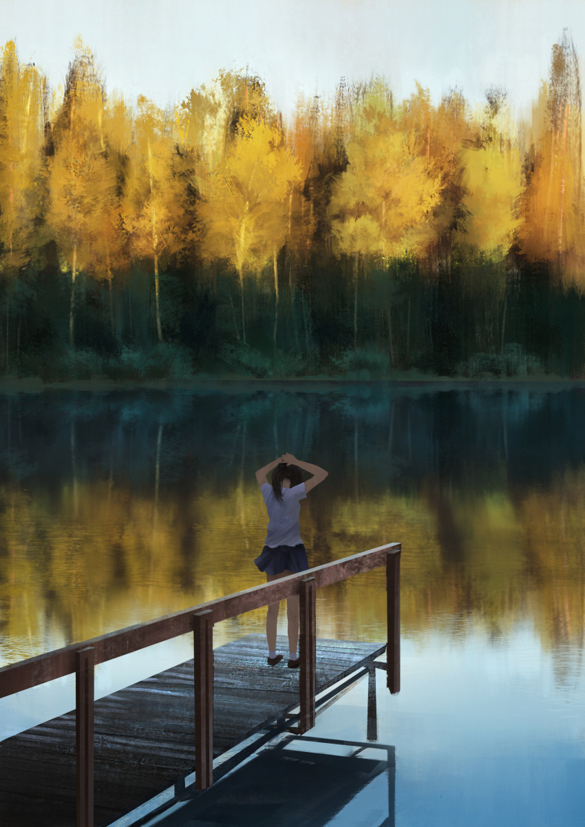 1girl absurdres anoc autumn black_hair dock from_behind highres lake letterboxed long_hair original outdoors pleated_skirt ponytail railing reflection scenery school_uniform skirt sky solo tying_hair