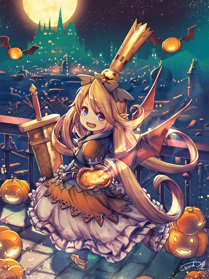 1girl :d absurdres bat_wings blue_gloves blush bow castle charlotta_fenia city_lights cityscape commentary crown from_side gloves granblue_fantasy grey_bow hair_bow halloween halloween_costume hat highres jack-o'-lantern kotoribako looking_at_viewer looking_to_the_side night night_sky open_mouth railing romaji_commentary scenery signature skirt sky smile solo standing sword weapon white_skirt wings