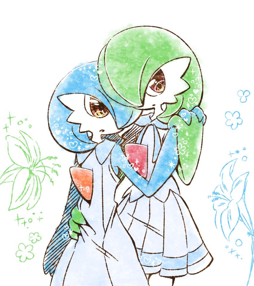 2girls alternate_color alternate_eye_color arm_around_waist bare_shoulders blue_dress blue_flower blue_hair blue_shirt closed_mouth clothed_pokemon commentary_request cosplay cowboy_shot dress flower gardevoir gen_3_pokemon green_flower green_hair hair_over_one_eye hand_up heart highres holding_hands lillie_(pokemon) lillie_(pokemon)_(cosplay) looking_at_another looking_at_viewer miniskirt muguet multiple_girls open_mouth orange_eyes pleated_skirt pokemon pokemon_(creature) shiny_pokemon shirt short_hair short_sleeves skirt sleeveless sleeveless_dress sparkle standing white_background yuri