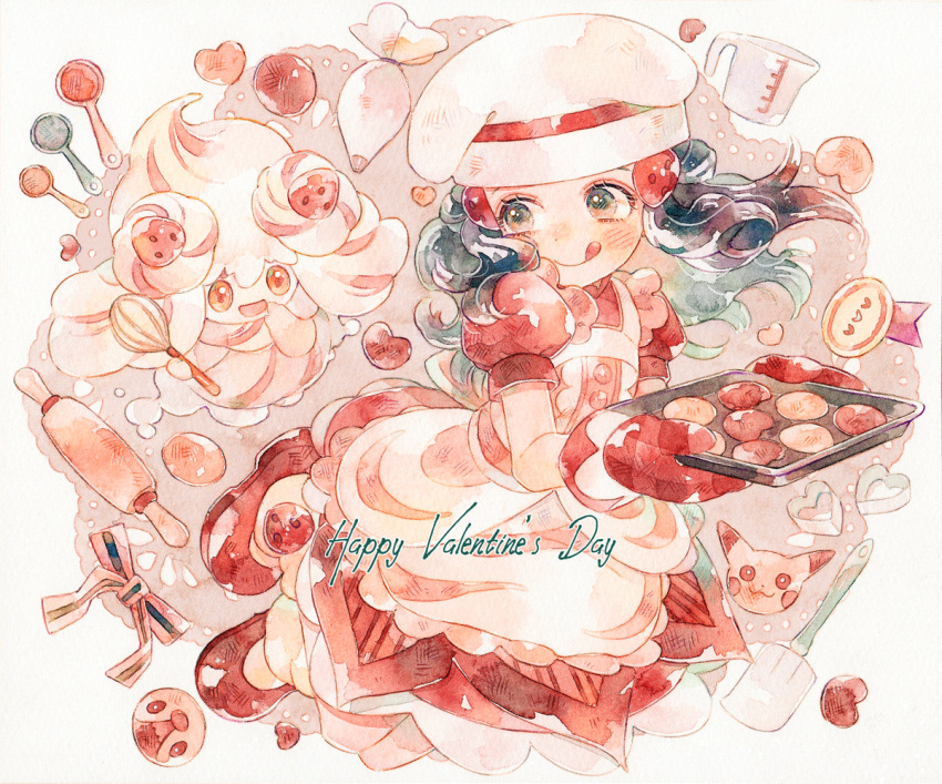 1girl :q alcremie alcremie_(strawberry_sweet) apron baking_sheet blush buttons chef_hat closed_mouth commentary dawn_(pokemon) dress eyelashes floating_hair gen_1_pokemon gen_4_pokemon gen_8_pokemon happy_valentine hat holding looking_back nose_blush oven_mitts pikachu piplup pokemon pokemon_(creature) pokemon_(game) pokemon_masters_ex red_dress red_mittens rrrpct short_sleeves smile tongue tongue_out traditional_media valentine watercolor_(medium)