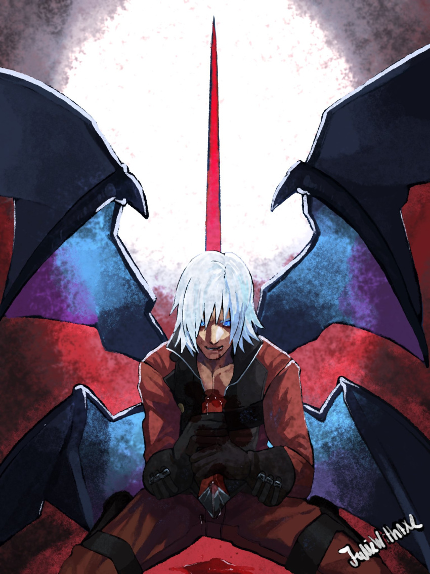 1boy bare_pecs bleeding blood blood_from_mouth blood_on_face bloody_weapon blue_eyes dante_(devil_may_cry) demon_wings devil_may_cry devil_may_cry_2 highres holding holding_weapon impaled juliewithaxe kneeling lower_teeth male_focus multiple_wings sitting solo stab sword teeth wariza weapon white_hair wings