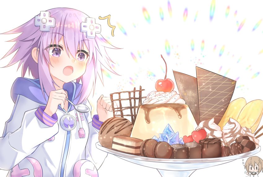 2girls blanc blush breasts brown_hair cherry chibi choujigen_game_neptune clenched_hand d-pad d-pad_hair_ornament dress food fruit gift hair_between_eyes hair_ornament heart holding holding_spoon hood hooded_jacket ice_cream jacket medium_hair multiple_girls neptune_(neptune_series) neptune_(series) pudding purple_hair ray_726 smile solo_focus sparkling_eyes spoon surprised upper_body usb valentine violet_eyes whipped_cream white_dress white_jacket yuri