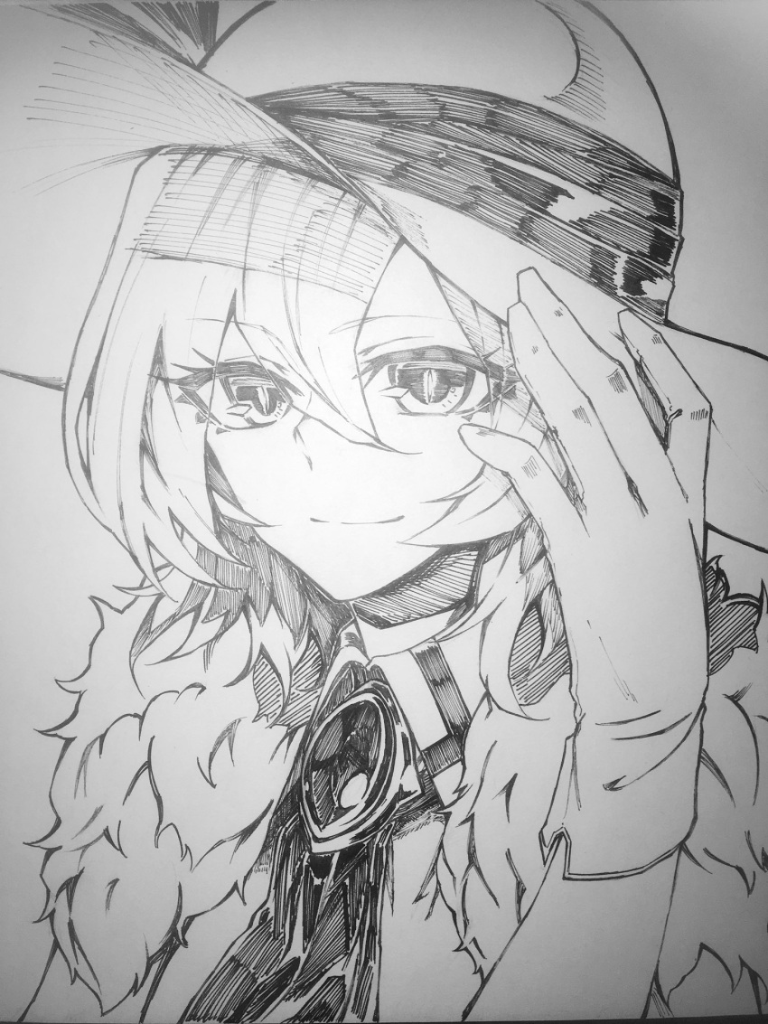 1girl brooch character_request closed_mouth fur_collar gloves greyscale hair_between_eyes hand_up hat highres jewelry looking_at_viewer monochrome neck_ribbon photo_(medium) portrait ribbon shukusuri smile solo sun_hat touhou traditional_media wing_collar