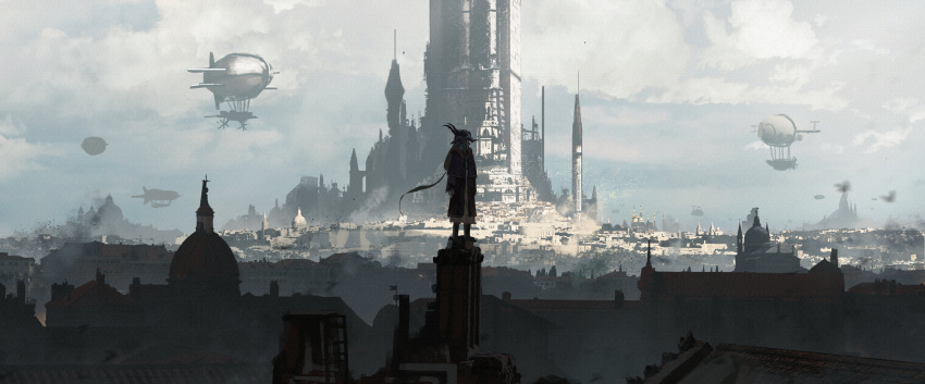 1girl absurdres aircraft asteroid_ill bird blonde_hair blur city cityscape clouds cloudy_sky dirigible fantasy flock full_body highres iris_(asteroid_ill) looking_afar low_ponytail medieval original scenery sky standing wide_shot