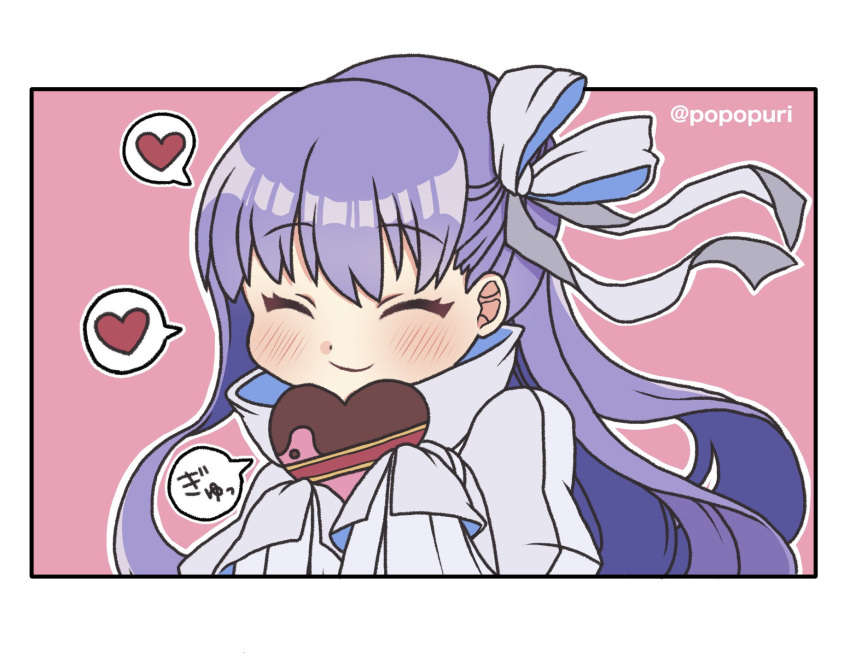 1girl ^_^ bangs blush bow box closed_eyes closed_mouth eyebrows_visible_through_hair fate/extra fate/extra_ccc fate_(series) gift gift_box hair_bow hands_up heart heart-shaped_pupils highres holding holding_gift jacket juliet_sleeves long_hair long_sleeves meltryllis_(fate) popo_(popopuri) puffy_sleeves purple_hair sleeves_past_fingers sleeves_past_wrists smile solo spoken_heart symbol-shaped_pupils twitter_username white_bow white_jacket