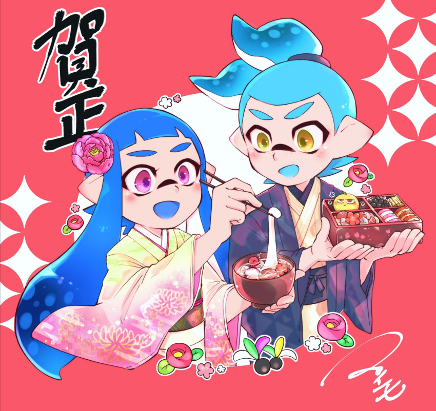 1boy 1girl artist_name bangs blue_hair blue_tongue blunt_bangs bowl chopsticks colored_tongue commentary_request domino_mask floral_print flower furisode hair_flower hair_ornament hair_pulled_back haori highres holding holding_bowl holding_chopsticks inkling japanese_clothes kimono long_hair long_sleeves looking_at_another maimo mask mochi new_year obentou obi partial_commentary pink_kimono pointy_ears print_kimono red_background sash scrunchie shippou_(pattern) short_hair side-by-side signature splatoon_(series) tentacle_hair topknot translated violet_eyes yellow_eyes yellow_kimono