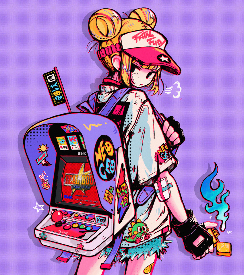 1girl backpack bag bandaid black_gloves blonde_hair blue_fire blue_shorts cowboy_shot crisalys double_bun fatal_fury fingerless_gloves fire from_behind gloves highres lighter long_sleeves looking_at_viewer looking_back original purple_background shadow shirt shorts simple_background solo white_shirt