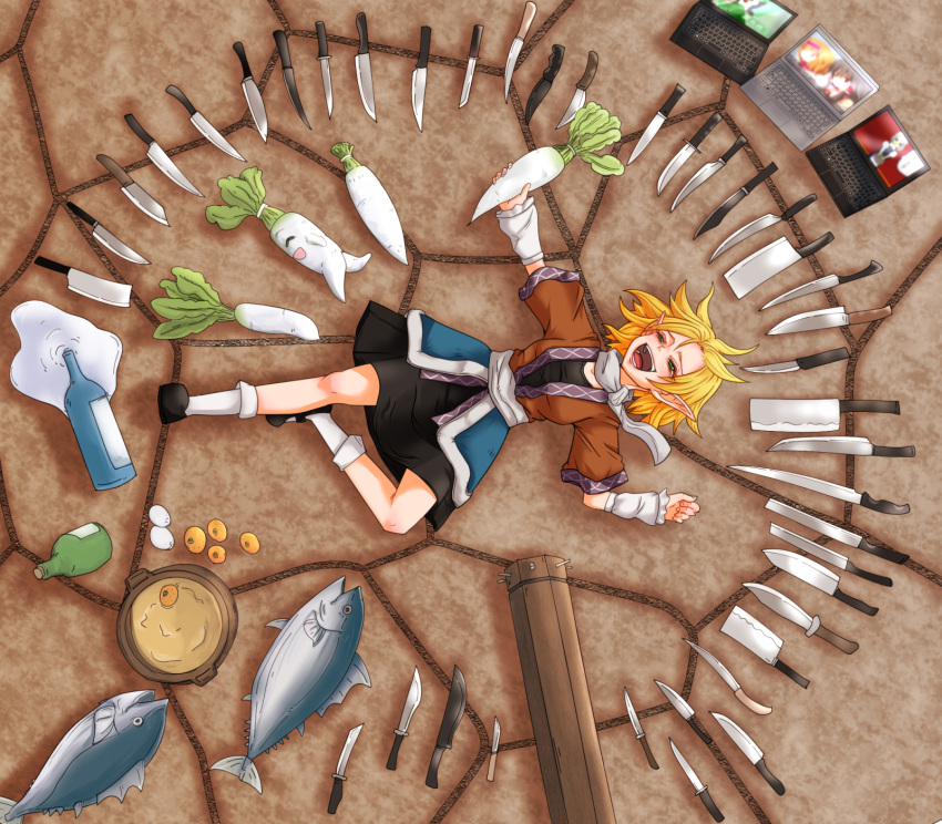 1girl alcohol alice_margatroid arm_cannon arm_warmers bangs black_dress blonde_hair bottle brown_jacket cleaver commentary_request computer control_rod cookie_(touhou) daikon dress fish food fruit full_body green_eyes hakurei_reimu highres hinase_(cookie) holding holding_food izayoi_sakuya jacket joker_(cookie) knife laptop laughing lying mizuhashi_parsee multicolored multicolored_clothes multicolored_jacket nabe on_back on_ground open_mouth orange pointy_ears pot reiuji_utsuho reu_(cookie) reu_daikon sake sake_bottle sash scarf short_hair short_sleeves solo spill suicide_squad too_many too_many_knives touhou tuna weapon white_sash white_scarf yan_pai