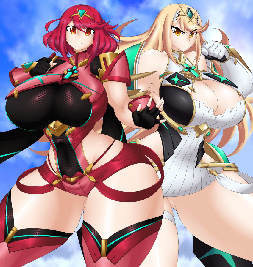 2girls blonde_hair huge_breasts mythra_(xenoblade) pyra_(xenoblade) red_hair xenoblade_(series) xenoblade_2