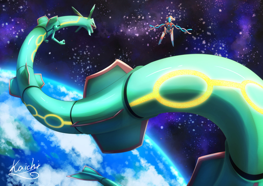 absurdres black_sclera claws clouds colored_sclera commentary_request deoxys earth_(planet) eye_contact fangs gen_3_pokemon highres huge_filesize kaichi_(tomiyu25) legendary_pokemon looking_at_another mythical_pokemon no_humans open_mouth planet pokemon pokemon_(creature) rayquaza signature space water yellow_eyes