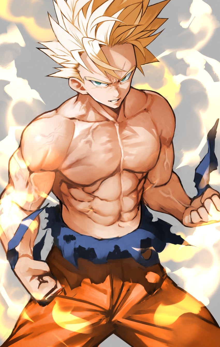 1boy abs absurdres blonde_hair clenched_hands commentary_request cowboy_shot dougi dragon_ball dragon_ball_z green_eyes grin highres legs_apart looking_at_viewer male_focus muscular muscular_male navel parted_lips pectorals serious shirtless smile solo son_goku spiky_hair super_saiyan super_saiyan_2 torn_clothes veins wristband yoshio_(55level)