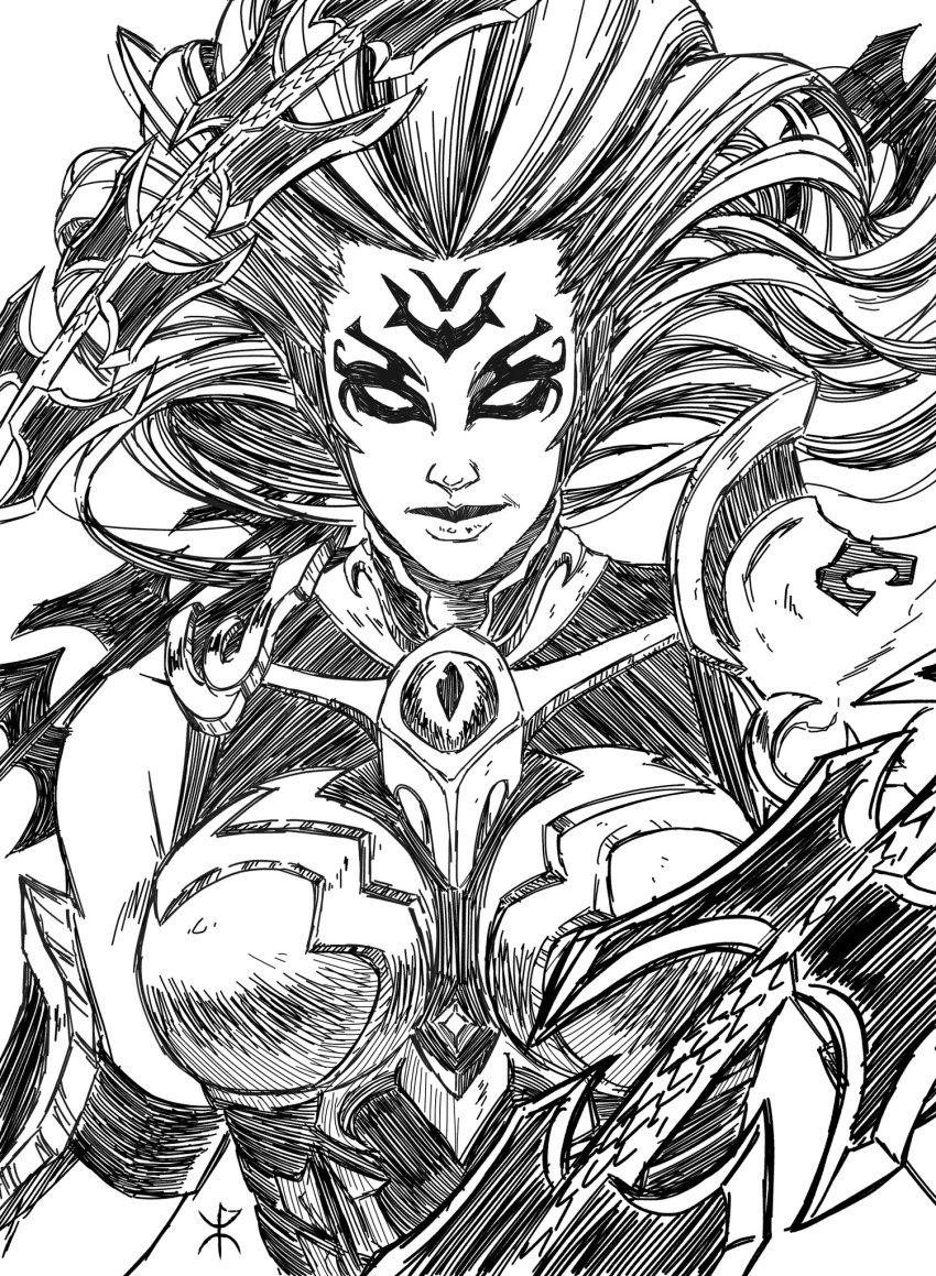 1girl apoloniodraws armor breasts darksiders eyes facial_tattoo greyscale highres lineart lips looking_at_viewer monochrome tattoo weapon whip_sword