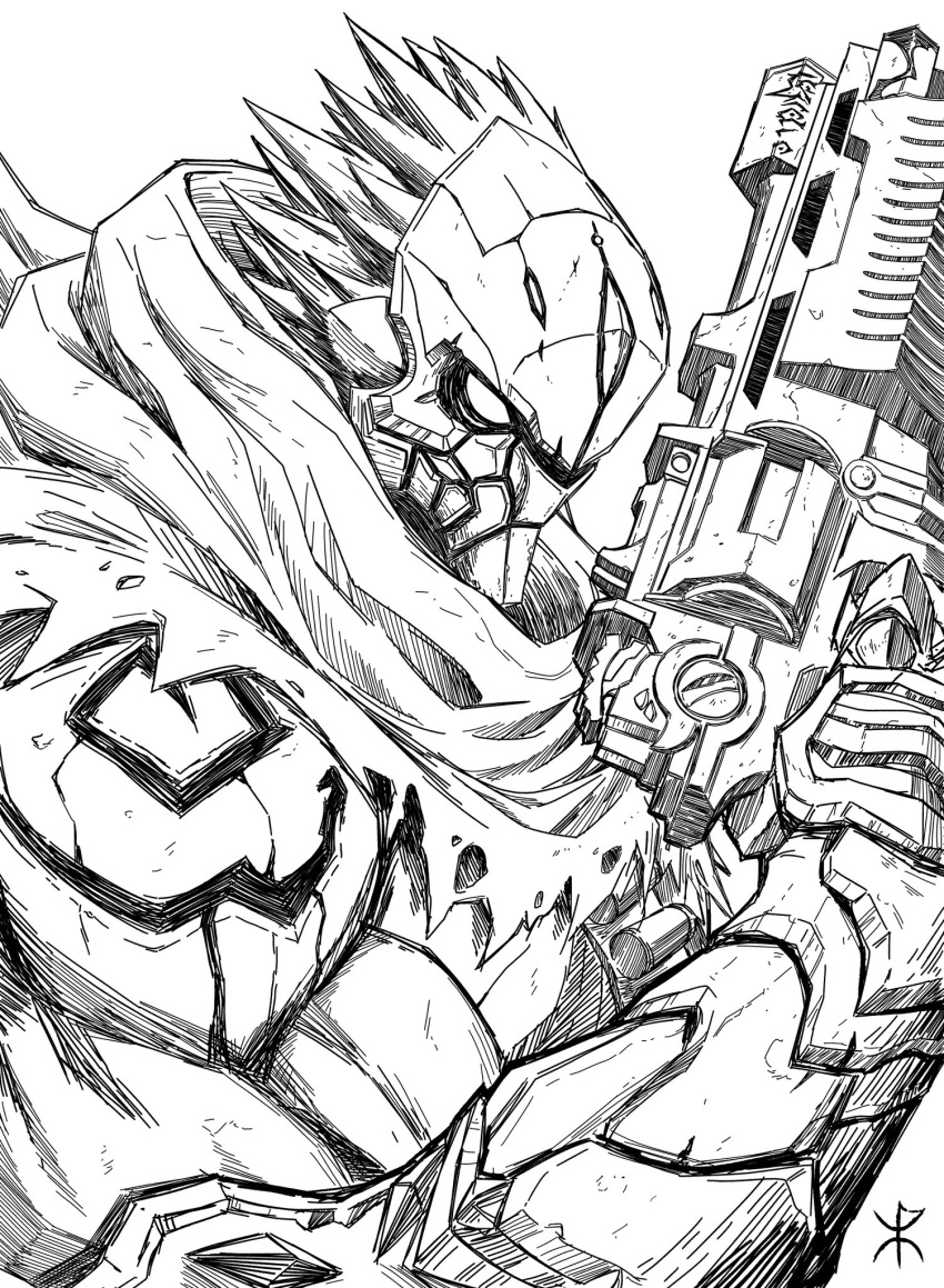 apoloniodraws arm_up armor darksiders greyscale gun highres holding holding_weapon lineart mask monochrome pointy_hair scarf signature weapon