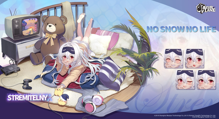 1girl :p artist_request azur_lane bangs bird brown_cardigan cardigan character_name chick closed_eyes collared_dress commentary controller copyright_name cushion dress english_commentary expressions fur-trimmed_headwear game_console game_controller hair_between_eyes hat headphones highres long_hair long_sleeves looking_at_viewer lying manjuu_(azur_lane) mask mask_on_head official_alternate_costume official_art on_stomach one_eye_closed open_mouth promotions red_eyes sleep_mask smile solo stremitelny_(azur_lane) stremitelny_(no_snow_no_life)_(azur_lane) stuffed_animal stuffed_toy teddy_bear teeth television tongue tongue_out white_dress white_hair