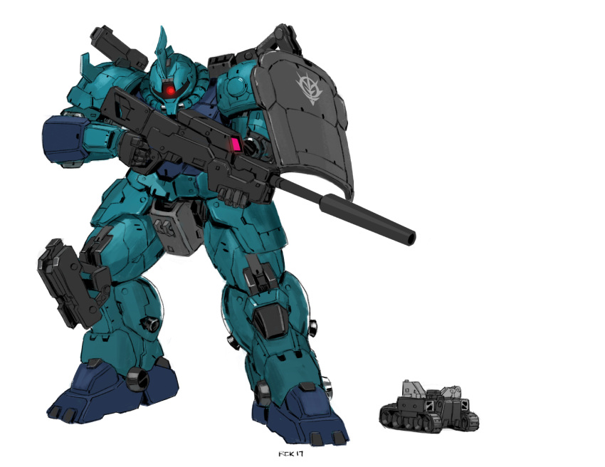 english_commentary glowing glowing_eye ground_vehicle gun gundam gundam_unicorn holding holding_gun holding_weapon looking_to_the_side mecha military military_vehicle motor_vehicle one-eyed red_eyes rickyryan rifle shield size_comparison sniper_rifle solo standing tank weapon zaku_i_sniper_type zeon