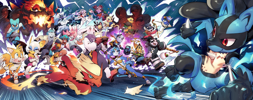 absurdres animal_ears animal_nose blaziken body_fur bodysuit bow_(weapon) bowser brand_new_animal breathing_fire character_request copyright_request crossover dress fire fox_ears fox_girl fox_tail fur furry fury_bowser gen_3_pokemon gen_4_pokemon height_difference highres holding holding_weapon hood hoodie kagemori_michiru kkyattyu krystal looking_at_another lucario mario_(series) muffet multiple_crossover ogami_shirou pokemon raccoon_ears raccoon_girl raccoon_tail ratchet_&_clank ratchet_&_clank:_rift_apart ratchet_(ratchet_&_clank) red_eyes rouge_the_bat running smile snout sonic_the_hedgehog star_fox star_fox_adventures super_mario_3d_world tail tails_(sonic) toriel undertale weapon