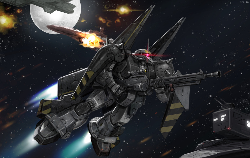 commission english_commentary flying glowing glowing_eye gun gundam highres holding holding_gun holding_weapon horns looking_up mecha mobile_suit no_humans one-eyed pink_eyes rickyryan science_fiction scope single_horn solo space weapon zaku zeon