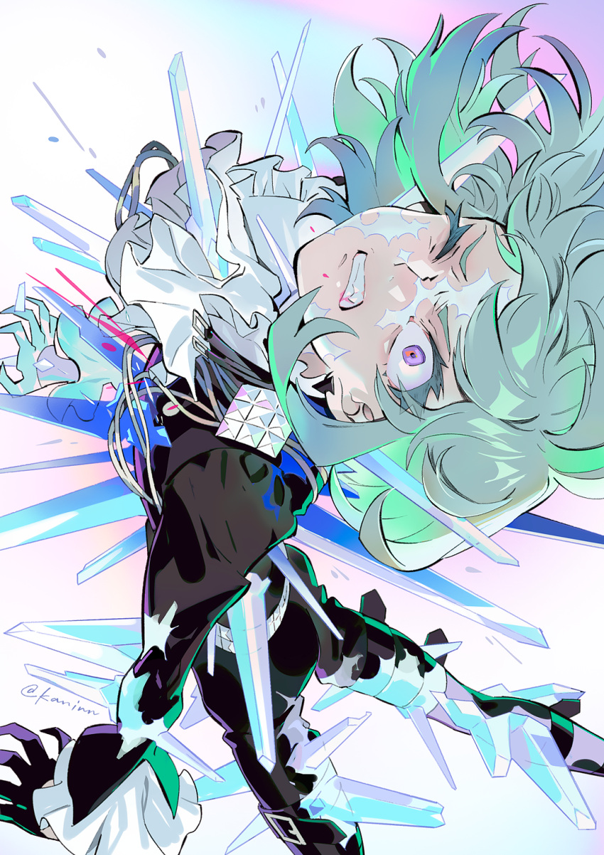 1boy aiguillette artist_name black_gloves black_jacket black_pants clenched_teeth constricted_pupils cravat frilled_shirt_collar frilled_sleeves frills furrowed_eyebrows gloves green_hair half_gloves high_collar highres ice ice_crystal jacket kaninn lio_fotia long_sleeves looking_up male_focus multiple_sources one_eye_closed pants promare shin_strap short_hair solo teeth thigh_strap violet_eyes white_neckwear wince