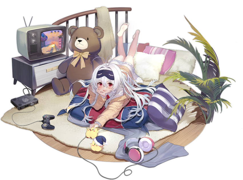 1girl ahoge azur_lane barefoot controller game_controller hair_between_eyes highres huoyi_(zzh100200) indoors looking_at_viewer lying manjuu_(azur_lane) mask mask_on_head official_alternate_costume official_art on_stomach pillow red_eyes sleep_mask stremitelny_(azur_lane) stremitelny_(no_snow_no_life)_(azur_lane) stuffed_animal stuffed_toy sweater teddy_bear television tongue tongue_out transparent_background white_hair
